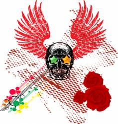 skull and wings vector image