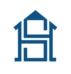 smart home with sh letter concept logo vector image