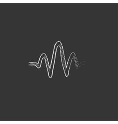 Sound wave drawn in chalk icon vector