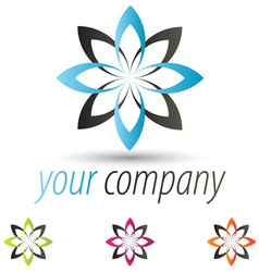 star flower logo set vector image vector image