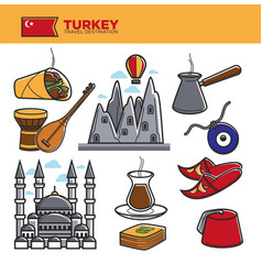 Turkey travel tourism famous symbols and turkish vector