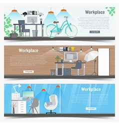Web banner set office workplace interior design vector