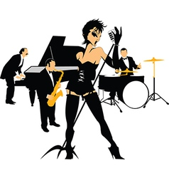 Woman singer in a band vector