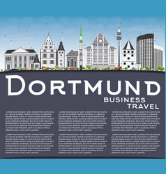 Dortmund skyline with gray buildings blue sky and vector