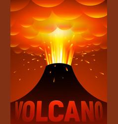 Volcano eruption cartoon vector