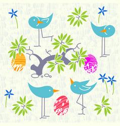 Cute birds baby shower invitation card design vector