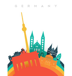 Travel germany 3d paper cut world landmarks vector