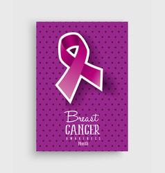 Breast cancer awareness pink ribbon poster design vector