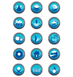 Blue logo elements in a round container vector