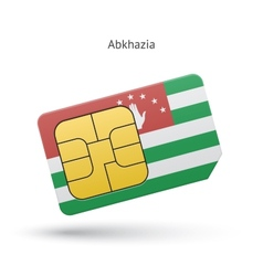 Abkhazia mobile phone sim card with flag vector