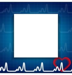 Abstract heart pulse blank paper sheet medical vector