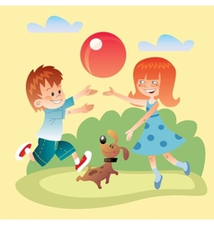 Kids and dog play outdoors in the ball vector