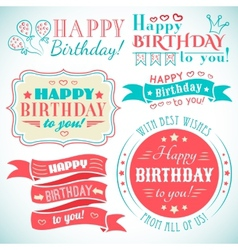 Happy birthday greeting card collection in holiday vector