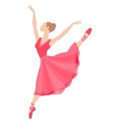 Stylized silhouette of ballerina in dress on white vector