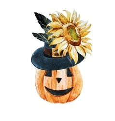 Watercolor halloween pumpkin vector