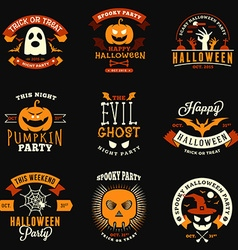 Set of retro vintage halloween badges labels vector