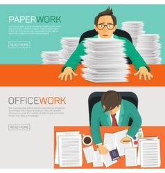 Busy businessman working with paperwork on her vector