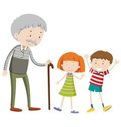 Children and old man vector image