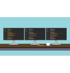 Programmer workdesk triple monitor with vector