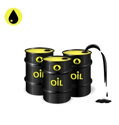 Three oil barrels with oil spill vector