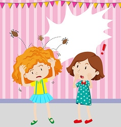 Girl having head lice vector