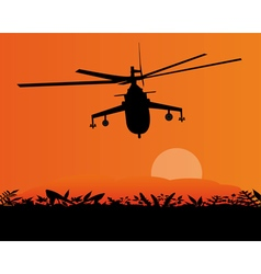 Flying helicopter above ground vector