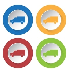 Set of four icons - lorry car vector