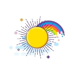 Anniversary colorful background sun and rainbow vector image