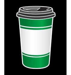Disposable coffee cup icon with beans logo vector