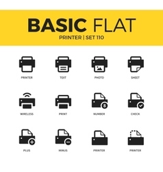 Basic set of printer icons vector