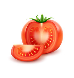 Big ripe red fresh cut tomato on white background vector