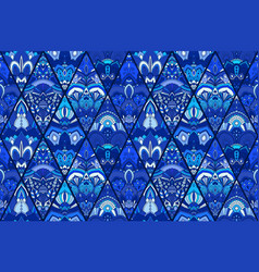 Blue tile background floral pattern vector