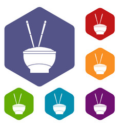 Bowl of rice with chopsticks icons set hexagon vector