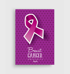 breast cancer awareness pink ribbon poster design vector image