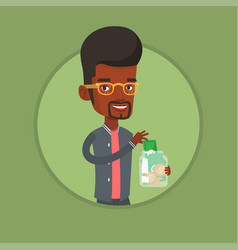 Business man putting dollar into money box vector