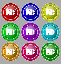 Cd player icon sign symbol on nine round colourful vector