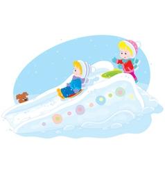 Children on an ice-run vector