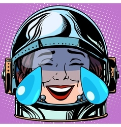 Emoticon tears of joy emoji face woman astronaut vector