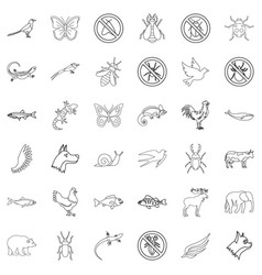 fauna icons set outline style vector image vector image