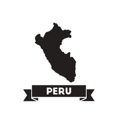Flat icon in black and white peru map vector