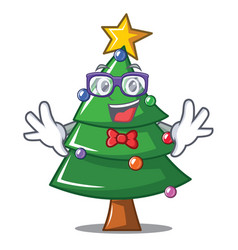 Geek christmas tree character cartoon vector