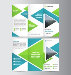 Green blue business trifold Leaflet Brochure set vector image