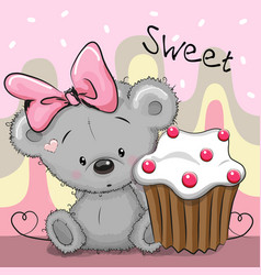 greeting card teddy bear with cake vector image vector image