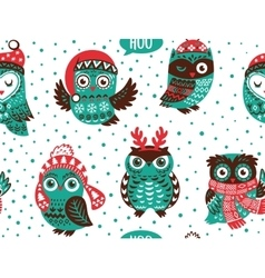 Hand drawn winter background with christmas owls vector
