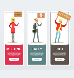 Meeting rally riot banners set angry people vector
