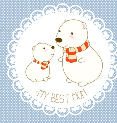 My best mom background with cute polar bear vector