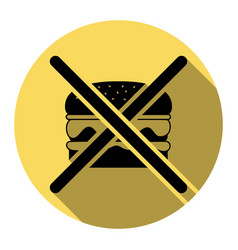No burger sign flat black icon with flat vector