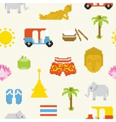 Pixel Thailand seamless background vector image