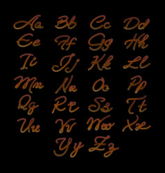 rope imitation alphabet on black background vector image