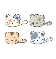 Set of cute cats on white background vector image